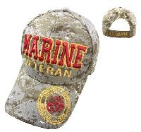 Licensed MARINE VETERAN Hat [Seal on Bill] Digital Camo